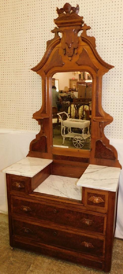 Walnut Victorian deep well marble top dresser.
