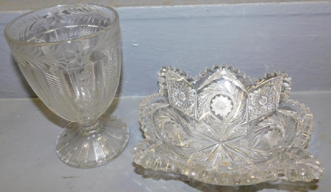 Cut glass bowl and etched compote.