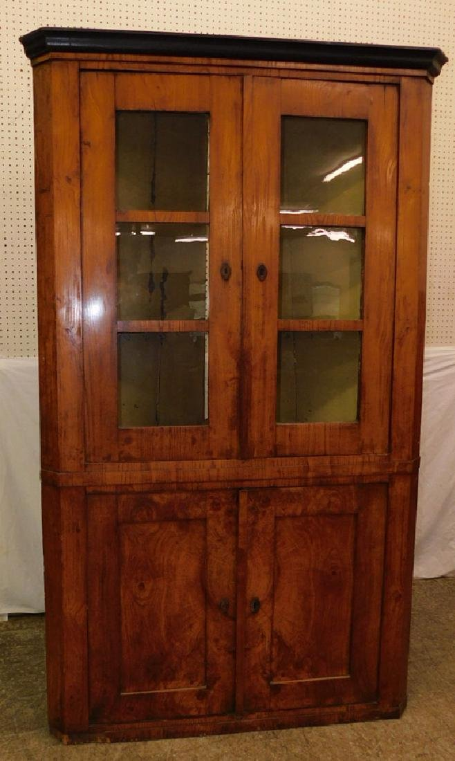 19th C 6 pane Amer biedermeier corner cupboard.