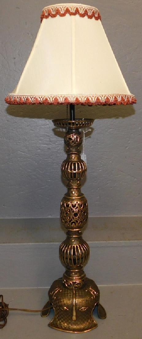 Oriental bronze candlestick lamp.