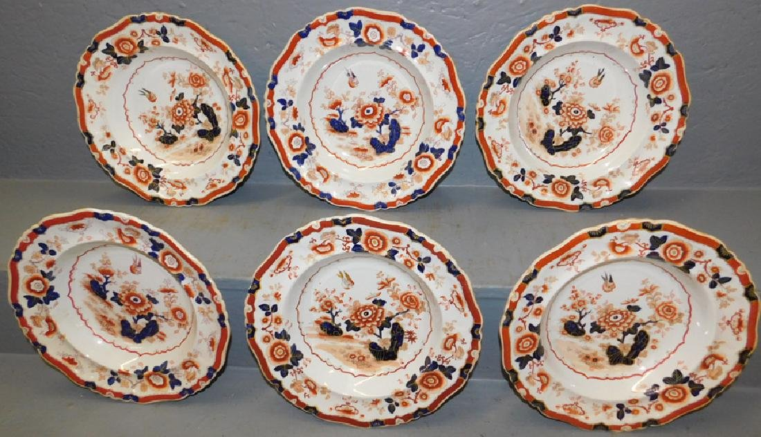 Set of 6 19th C Ironstone Imari soup bowls