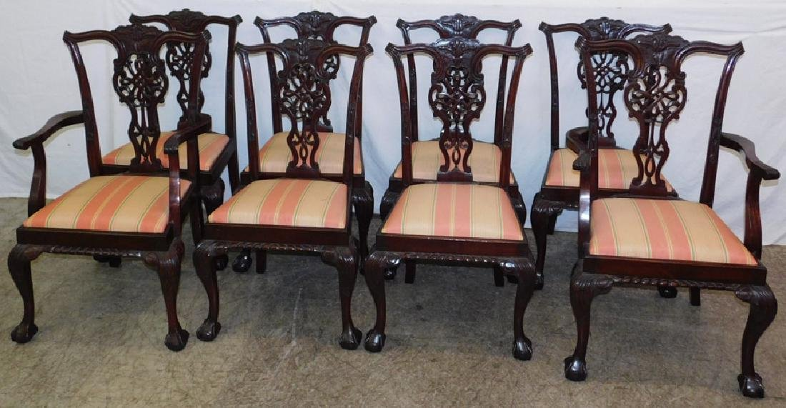 Set 8 mahog. ball & claw foot Chippendale chairs.