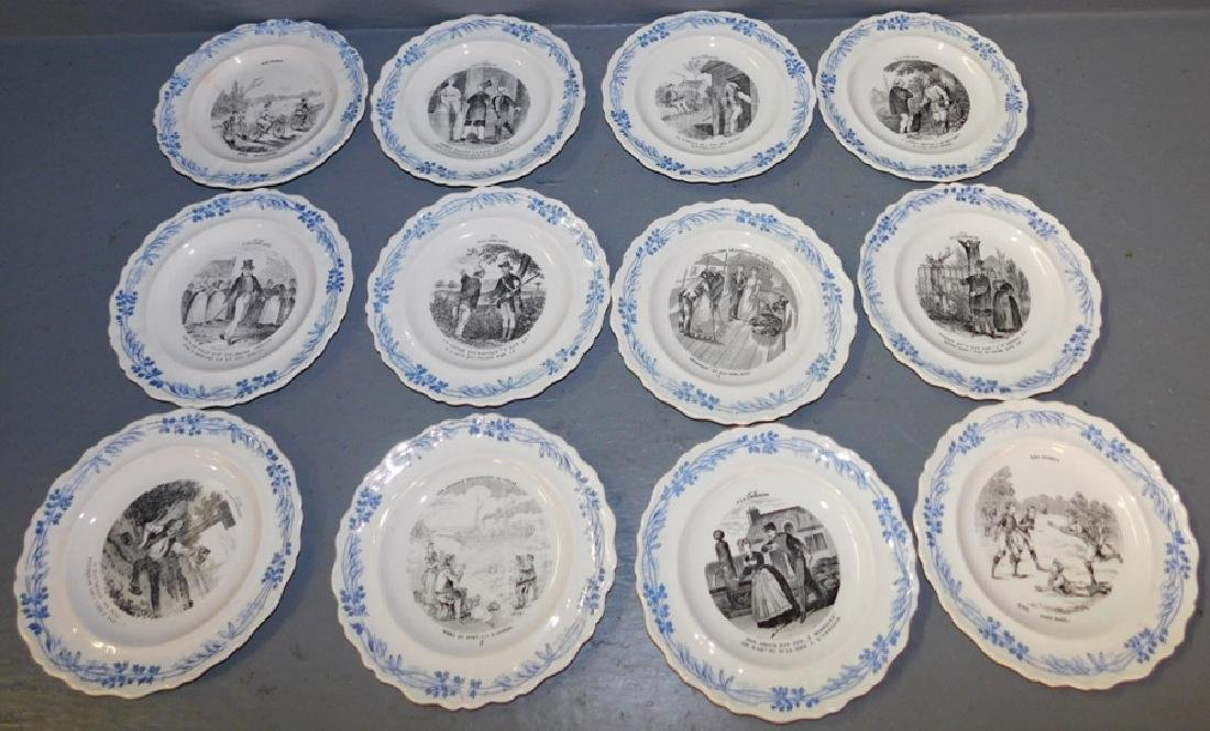 Set of 12 French cream ware black transfer plates
