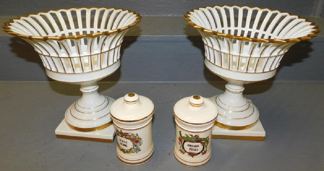 2 Old Paris reticulated tureens, 2 glass containers