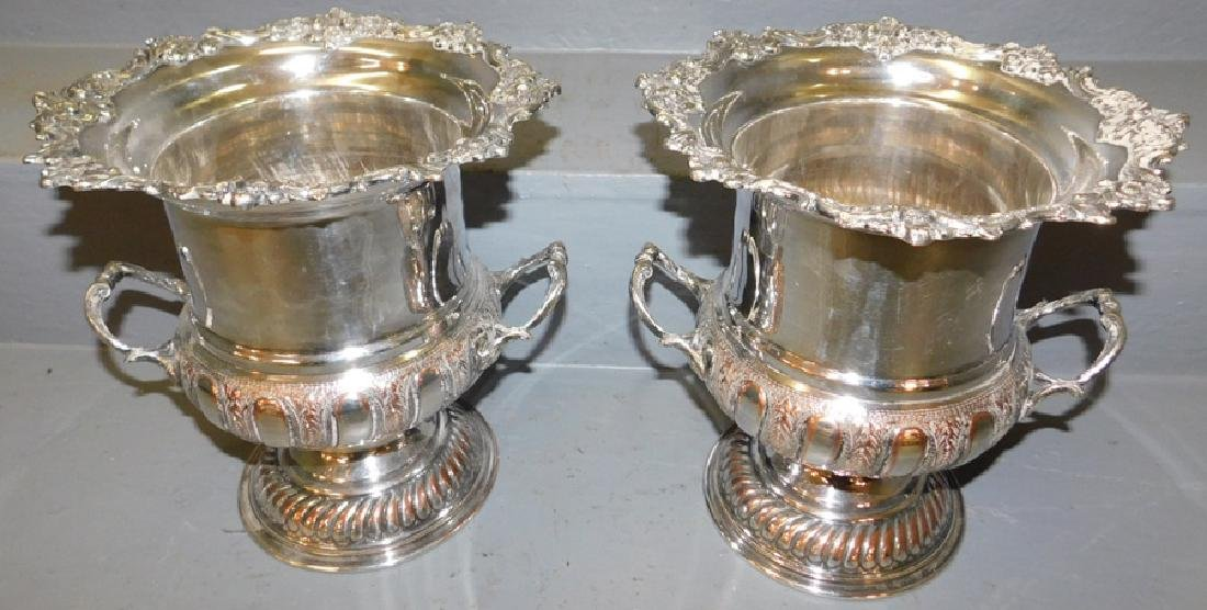 Pr.19th C English s.p. hand chased wine coolers.