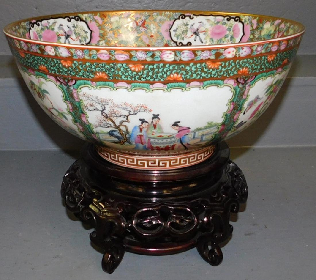 Contemporary Rose Medallion bowl on stand.