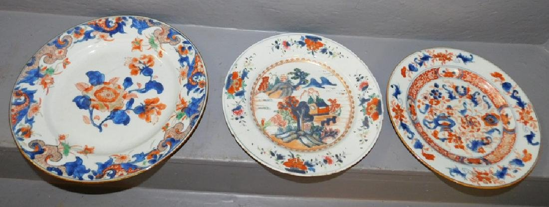 3 export 18th C plates