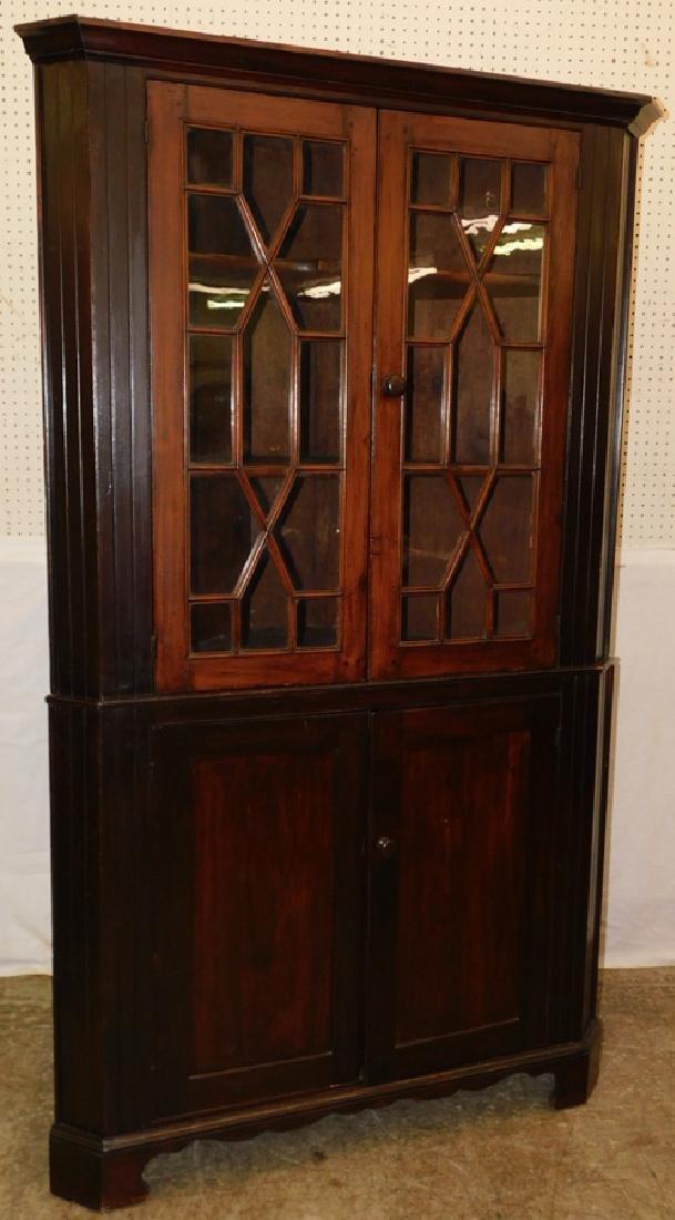 Mahogany glass door corner cupboard.