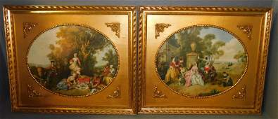 Farmville estate pr. gold leaf framed French prints.