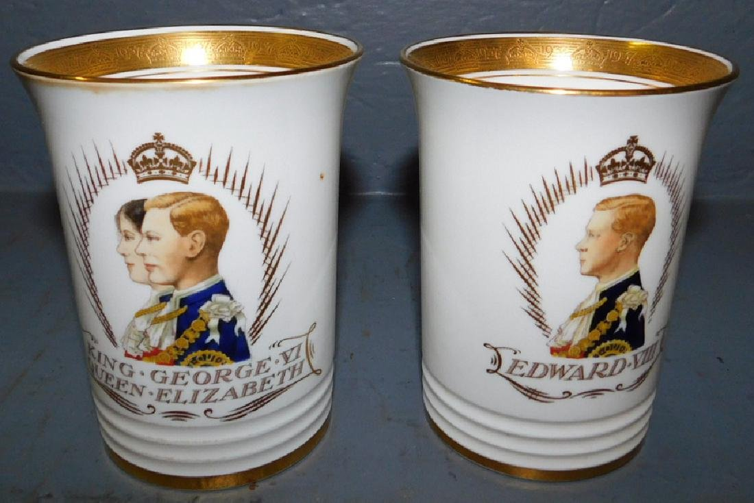 3 Minton signed& numbered Coronation beakers