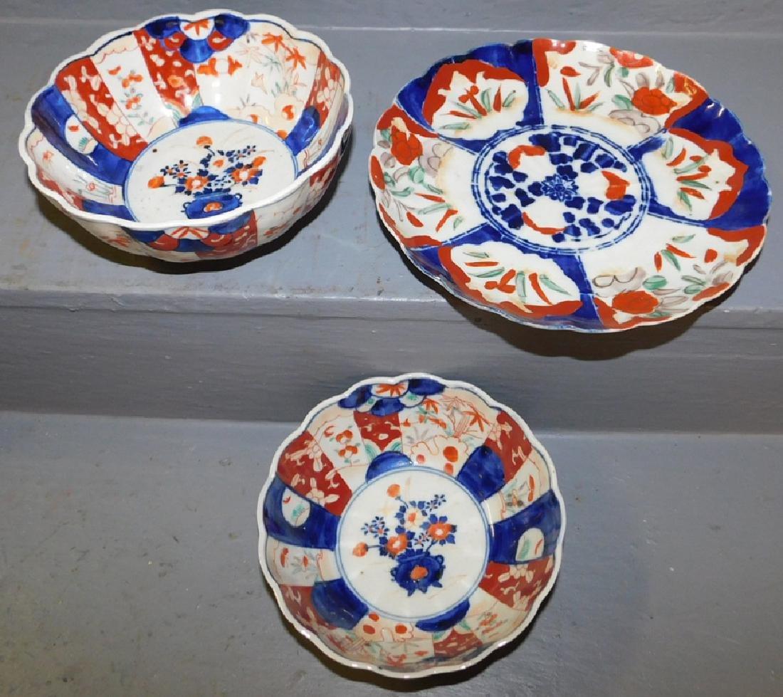 2 19th C Imari bowls and an Imari plate.