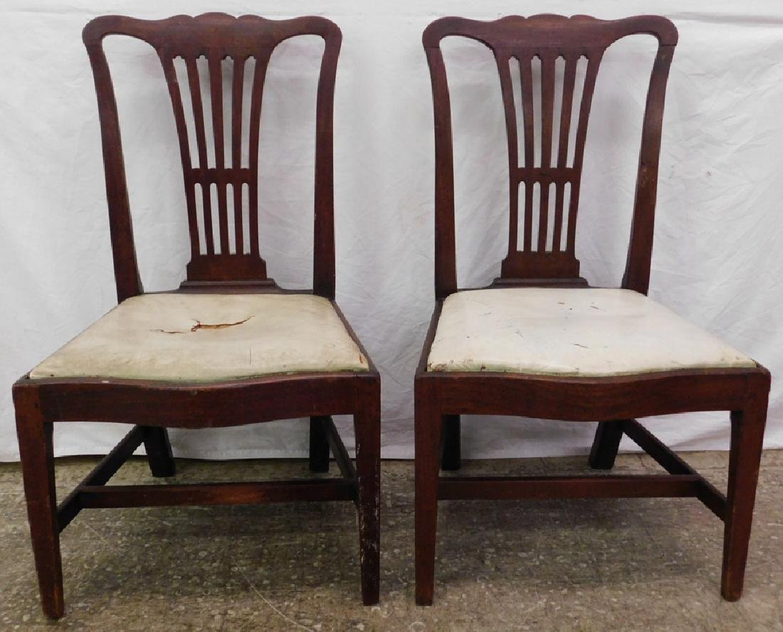 Pr.18th C mahogany Chippendale transition chairs