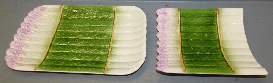 Majolica asparagus server with under plate.