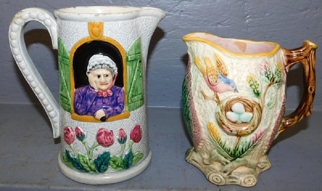 2 Majolica pitchers, birds nest and couple figures