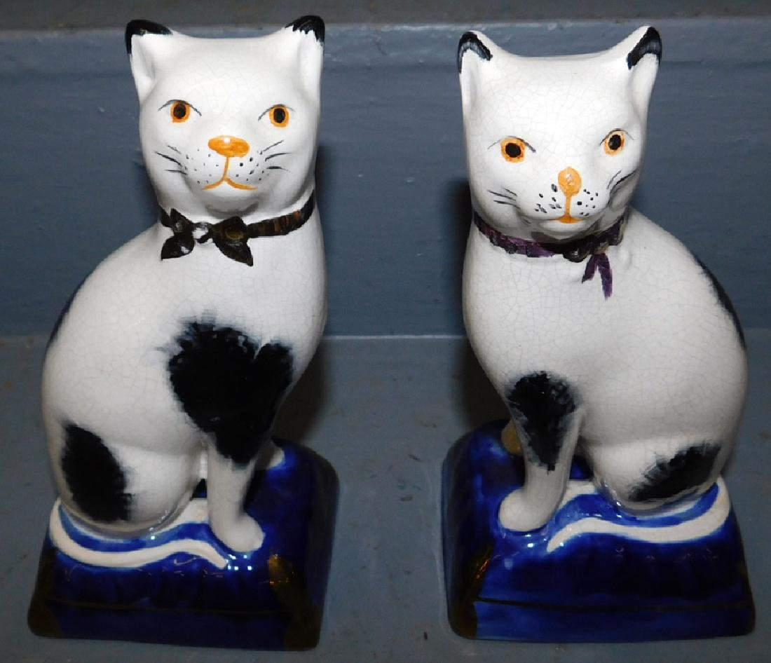 Pair of 19th C Staffordshire cats.
