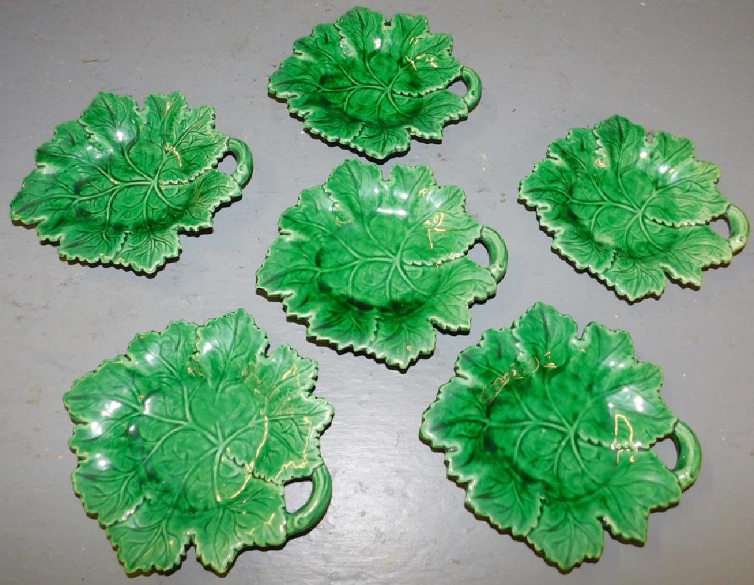 6 green leaf decorated Majolica plates.