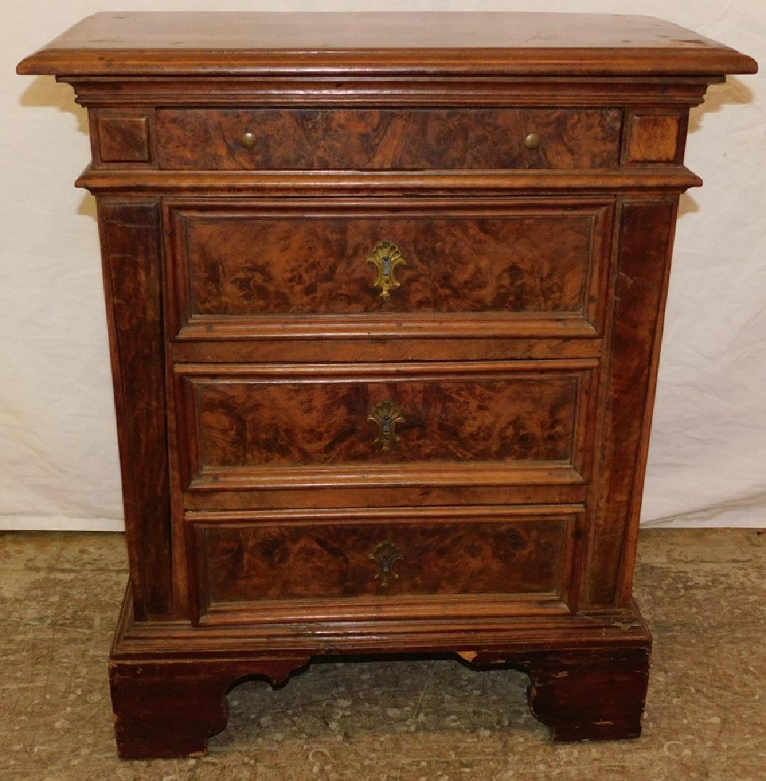 Antique diminutive Italian walnut commode.