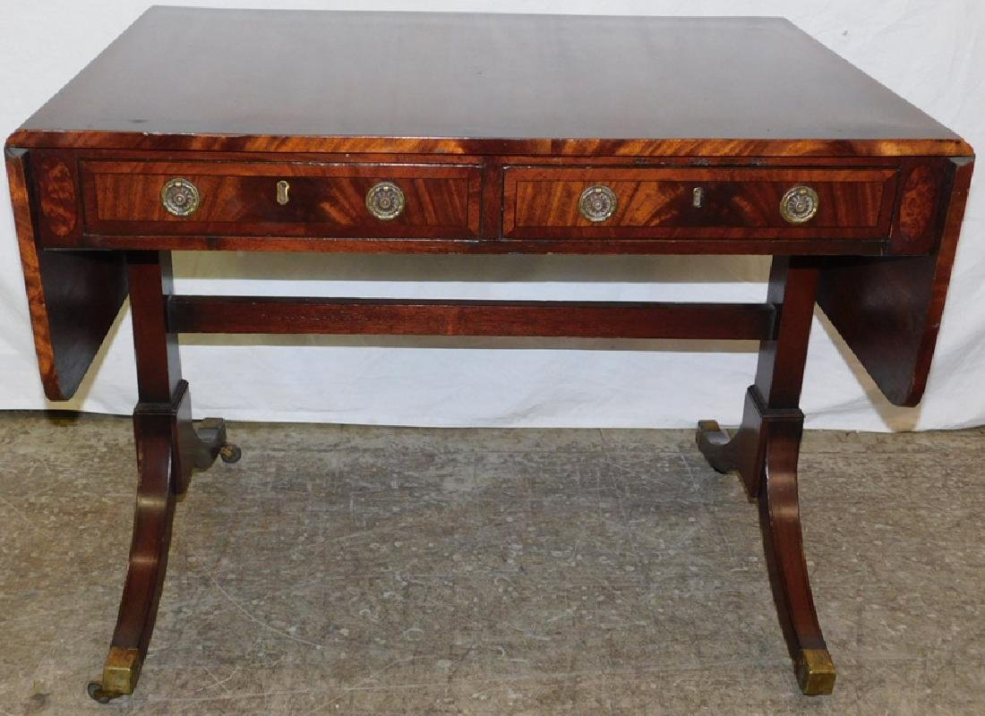 Late 19th C banded top mahogany sofa table.