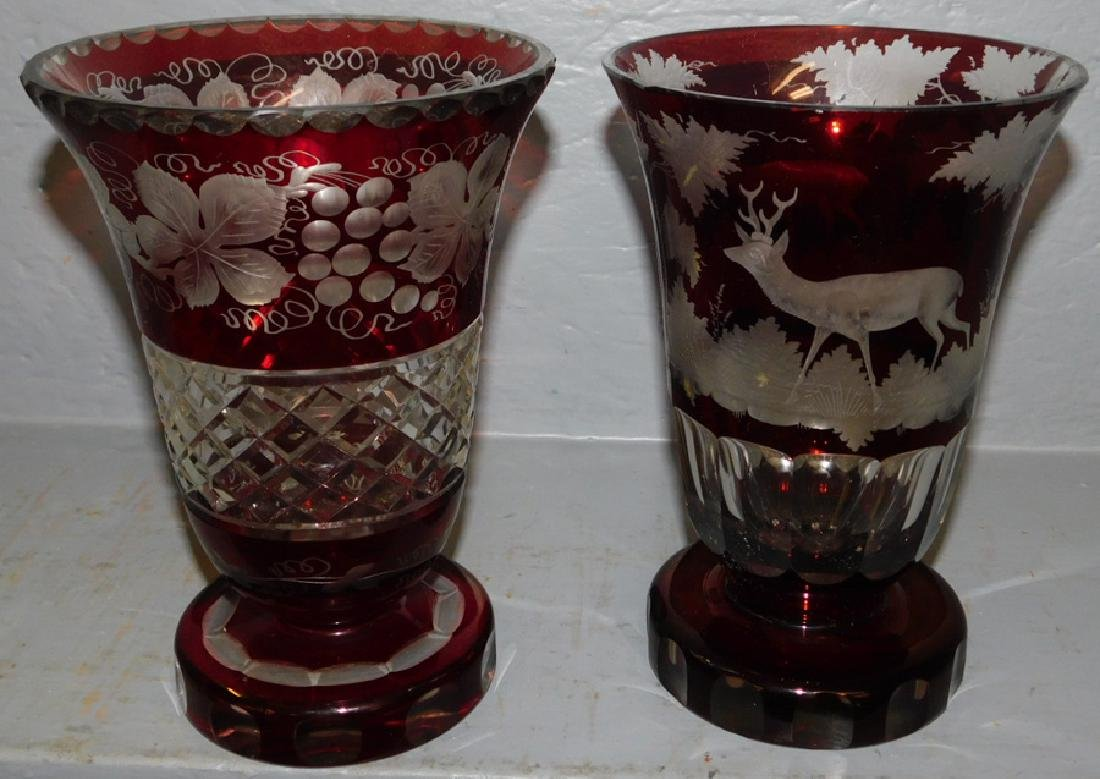 2 Bohemian glass ruby cut to clear vases.