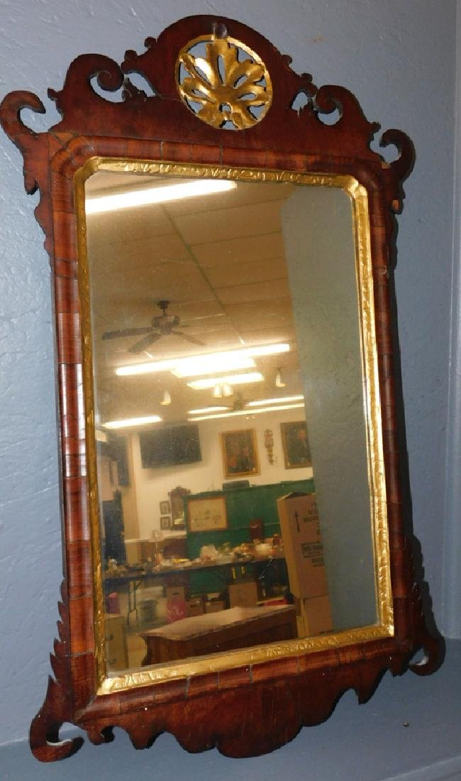 18th C Mahogany Chippendale mirror.