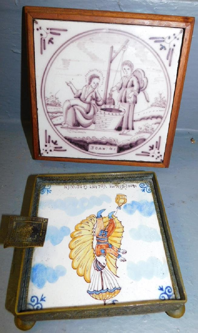 2 19th C Delft framed tiles.