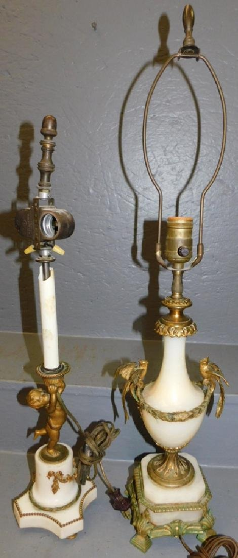 2  French onyx and bronze lamps.