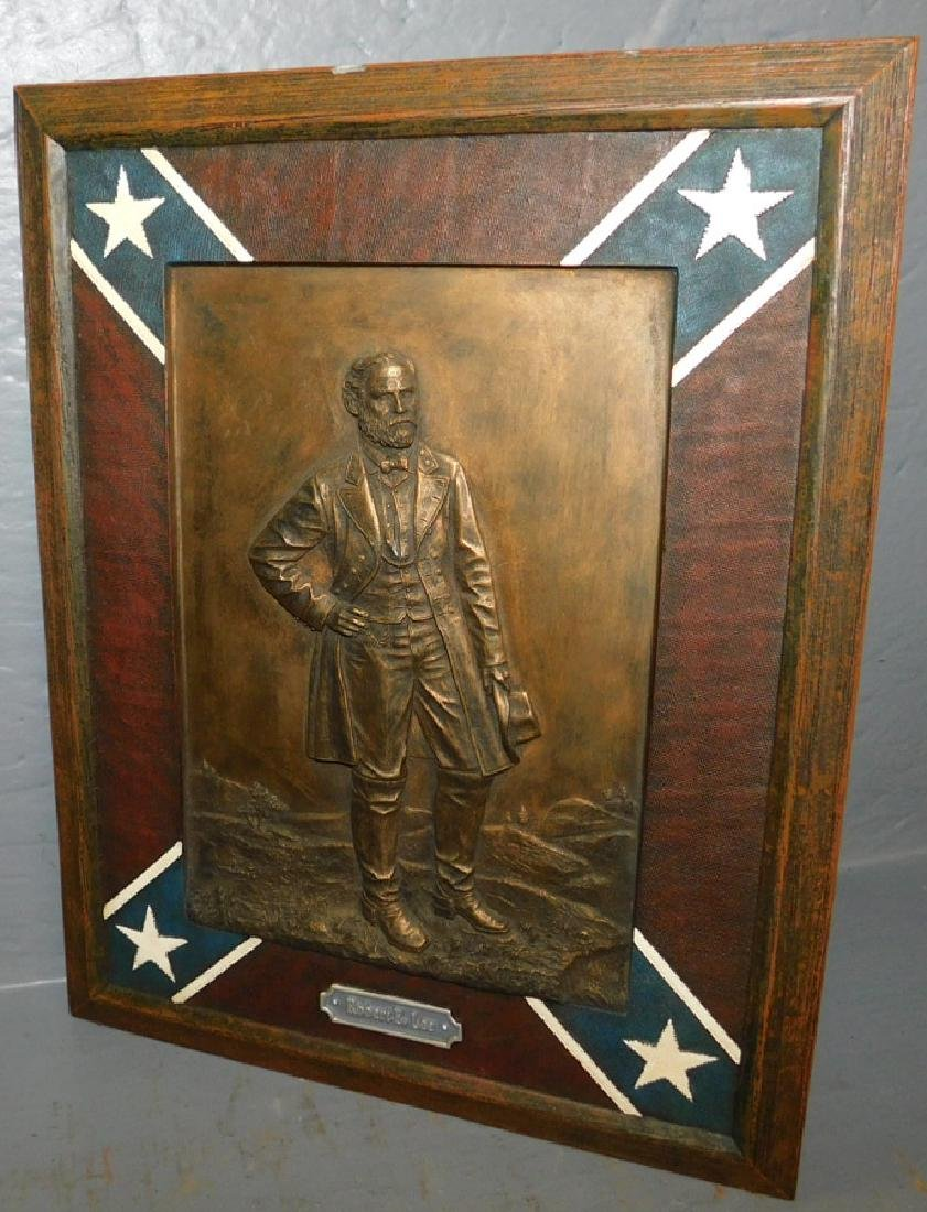 Framed bronze plaque of Robert E. Lee.