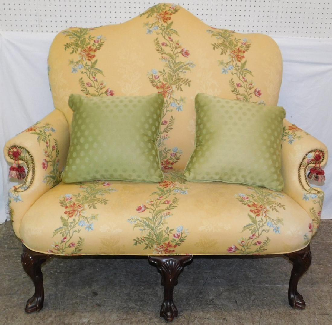 Queen Anne drake foot high back uph. settee.