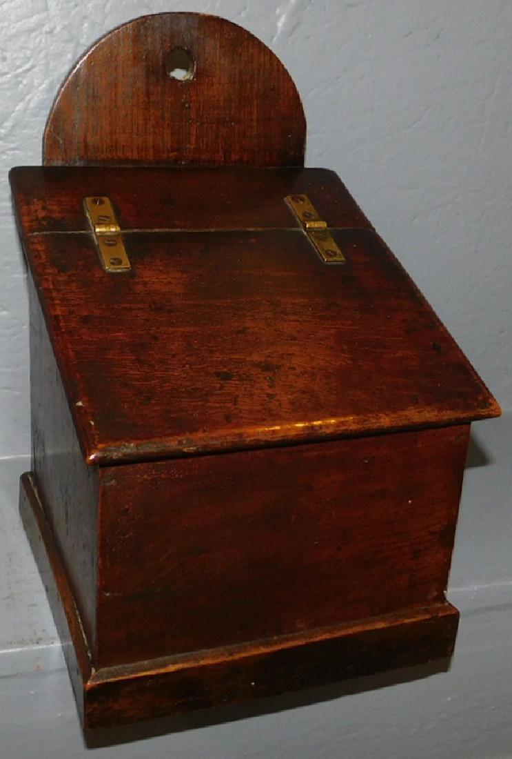 Early 19th C English oak salt box.