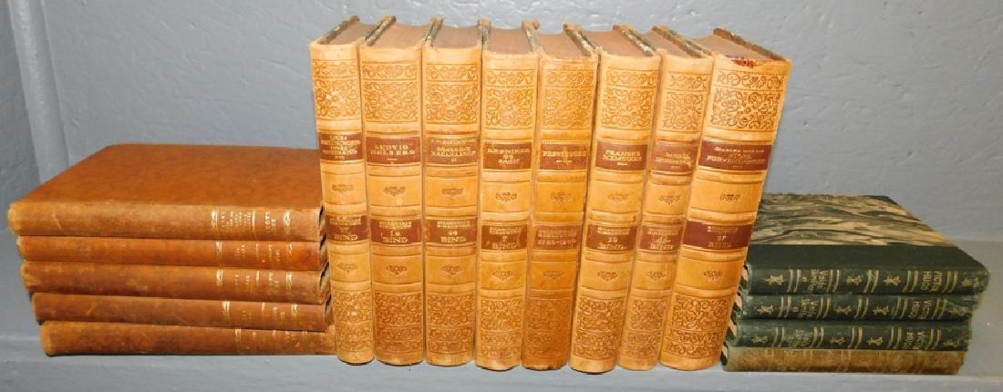 17 quarter leather bound books.