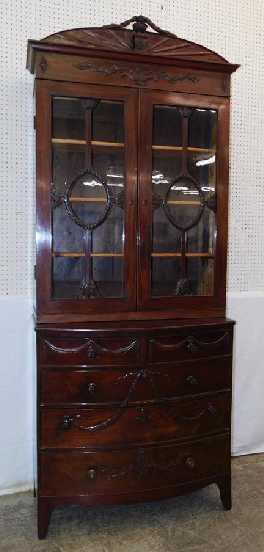 2mpc. 19th C garland carved bookcase cabinet.