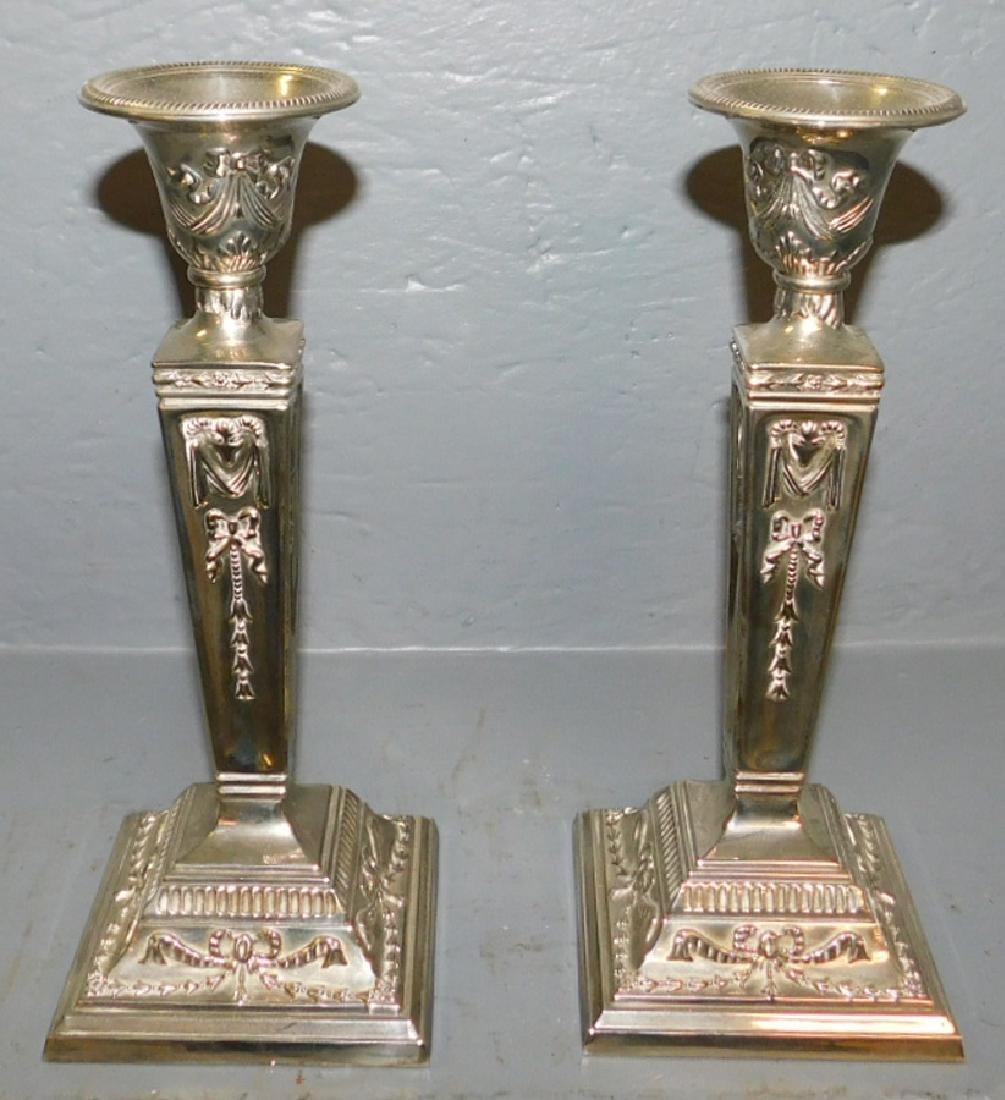 Pair of Sheffield column candlesticks.