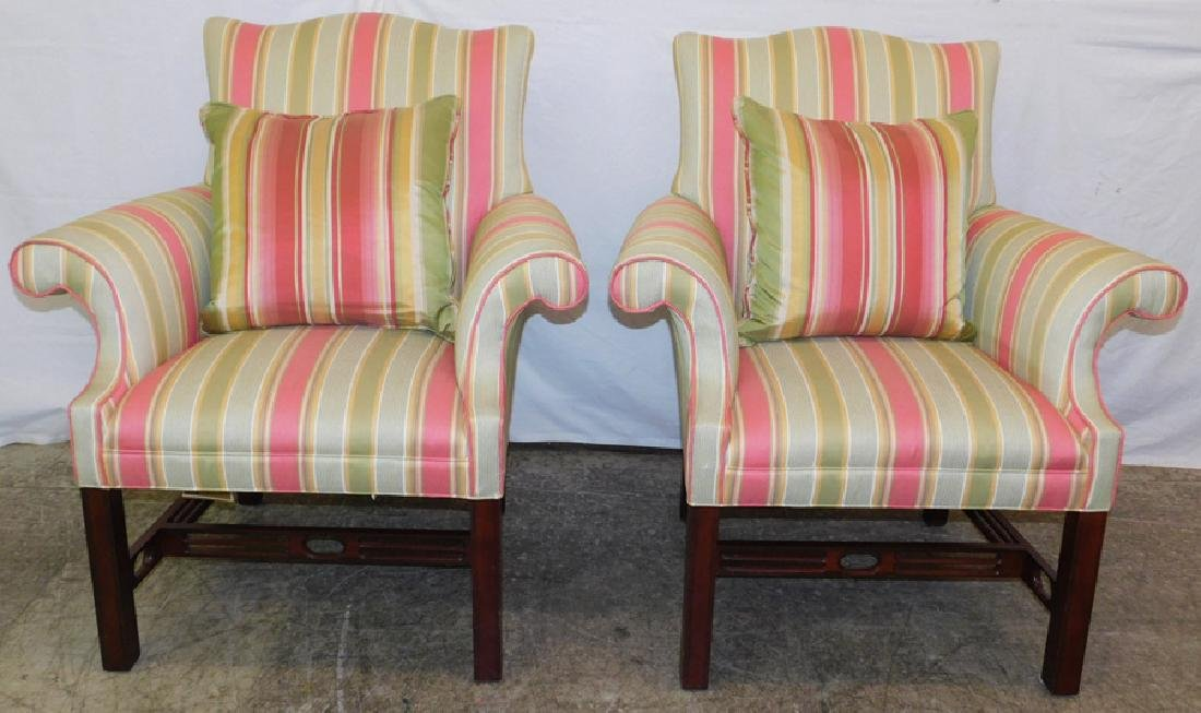 Pr. Chippendale Southwood upholst. arm chairs.