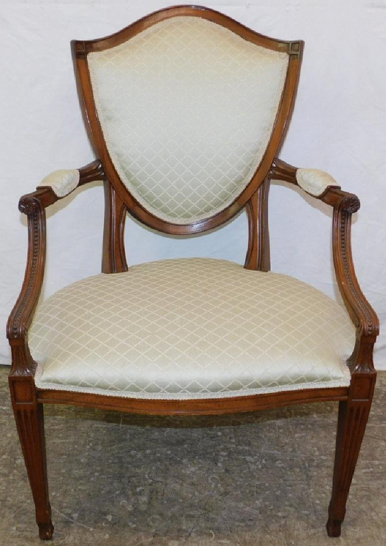 Hepplewhite bead wood French style fauteuil.
