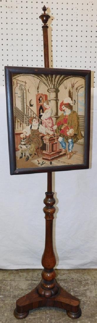 19th C Needlepoint fire screen.