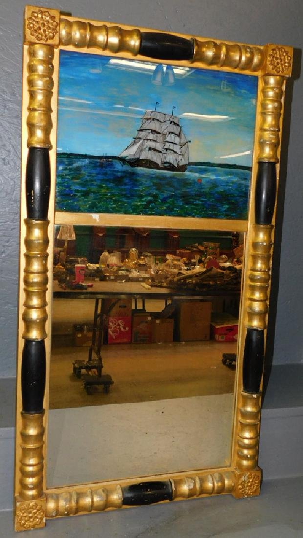 19th C Empire gilt reverse painted mirror with ship