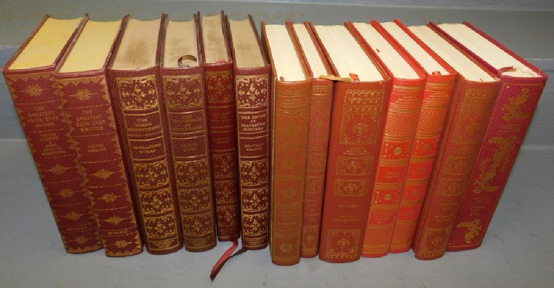 13 quarter leather bound books.