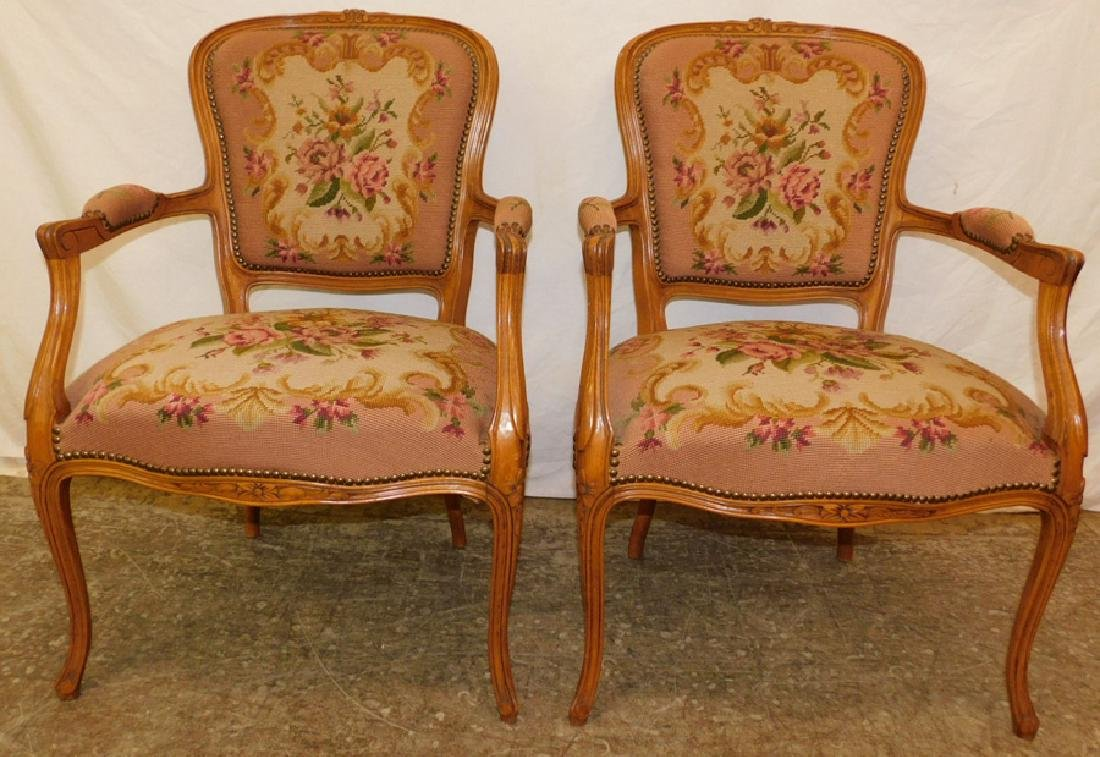 Pair of needlepoint French fauteuils.
