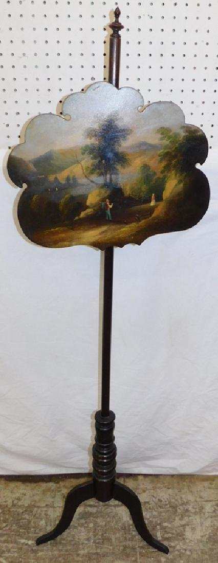 Hand painted paper mache fire screen.