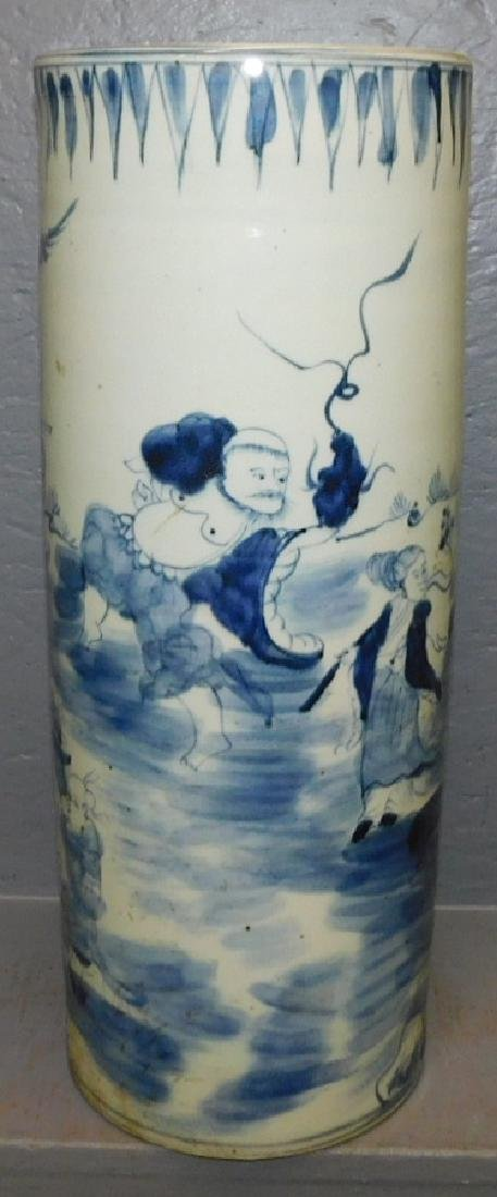 Blue and white Chinese umbrella stand.