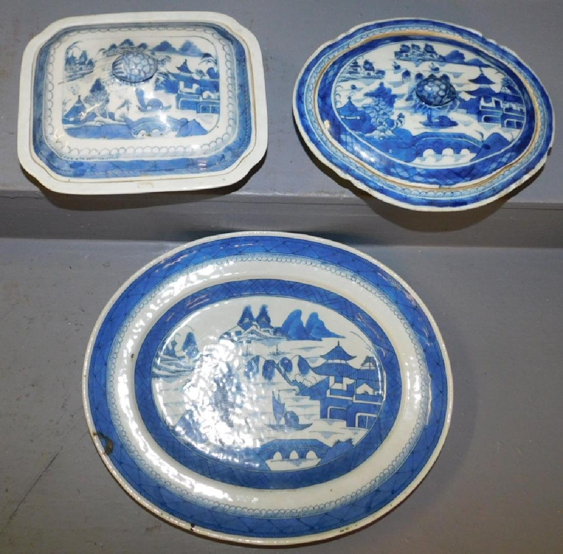 18th C  Canton platter and 2 covered dishes.