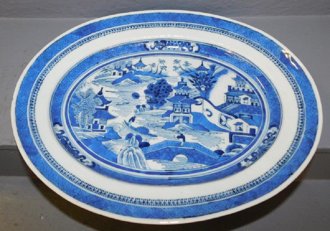 19th C blue and white Fitzhugh oval platter.