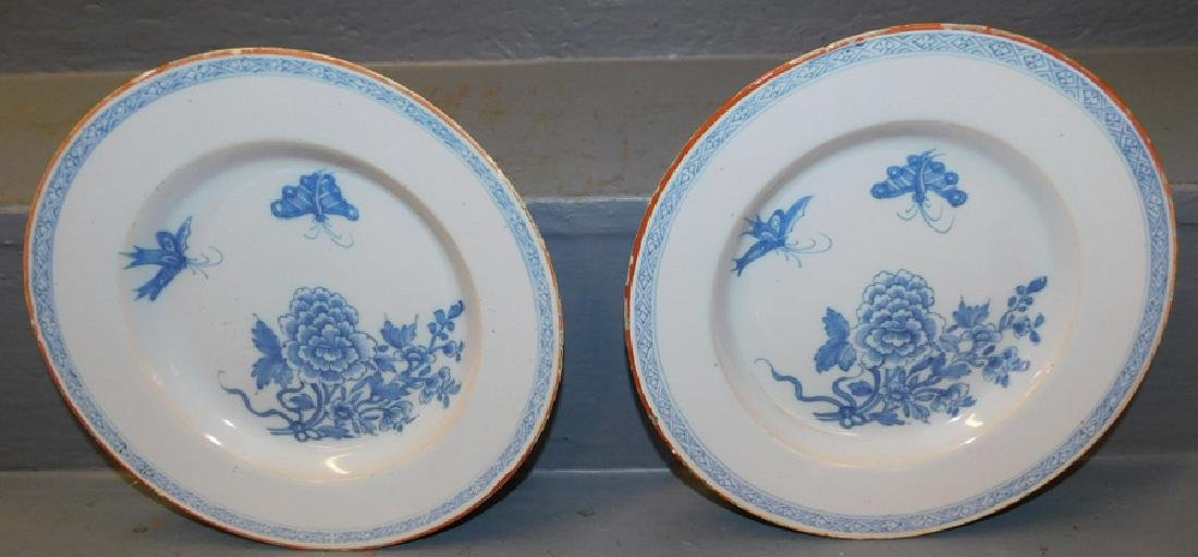 Pair early blue and white Delft plates.