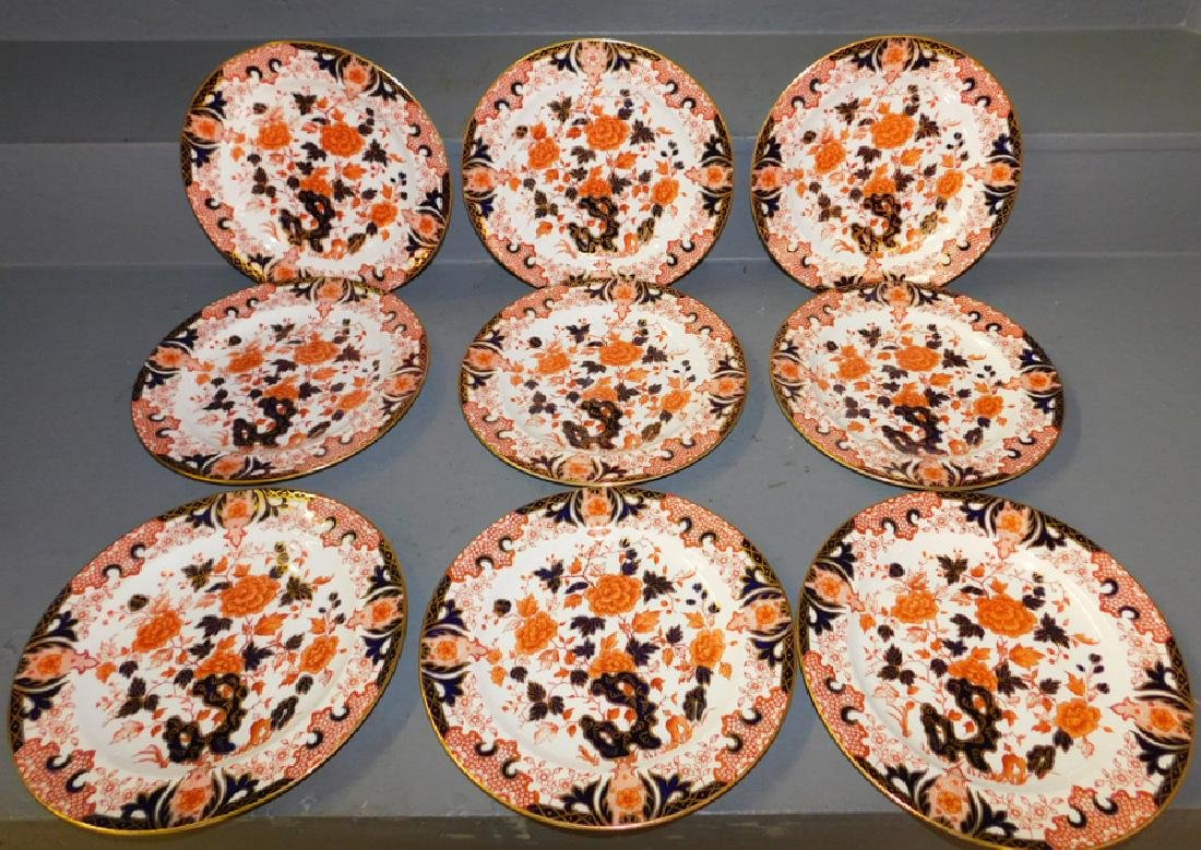 9 early Crown Derby dinner plates.