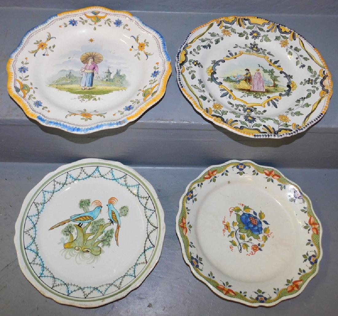 Set of 4 19th C French faience plates.