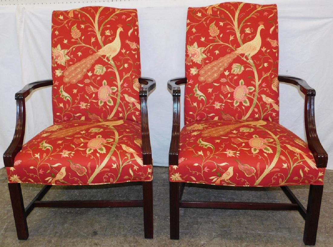 Pair of Southwood Chippendale lolling chairs.