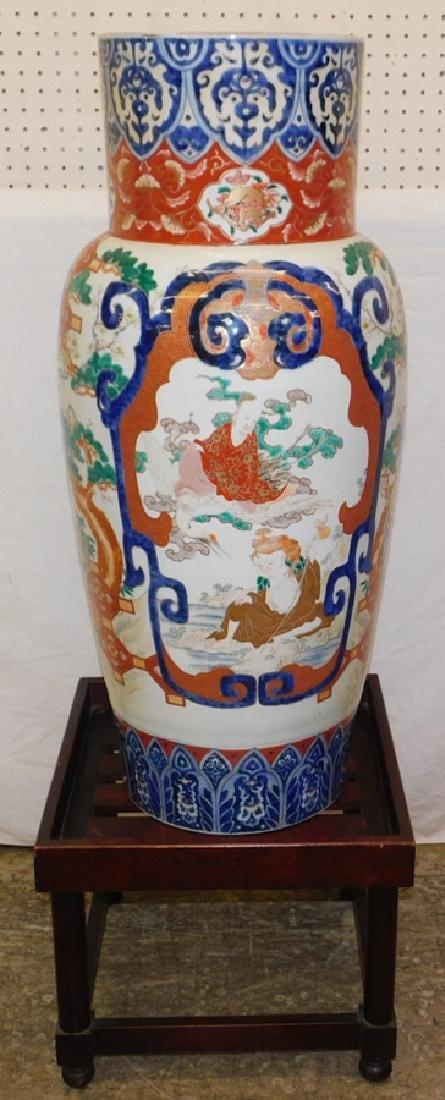 19th C Imari palace vase with stand.