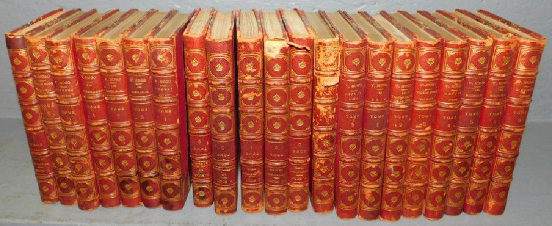 21 quart. leather bound French Victor Hugo books