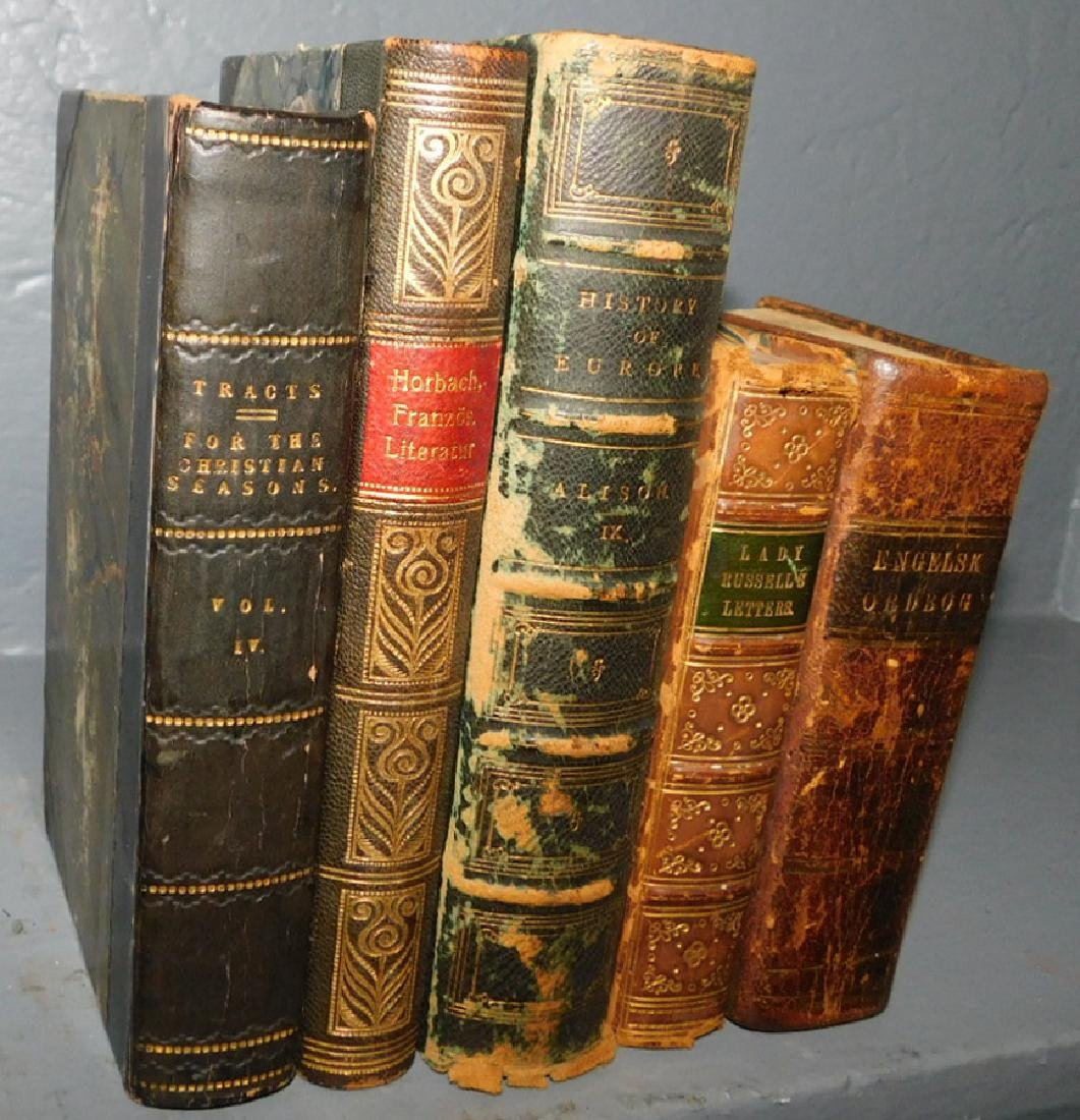 5 full leather bound books