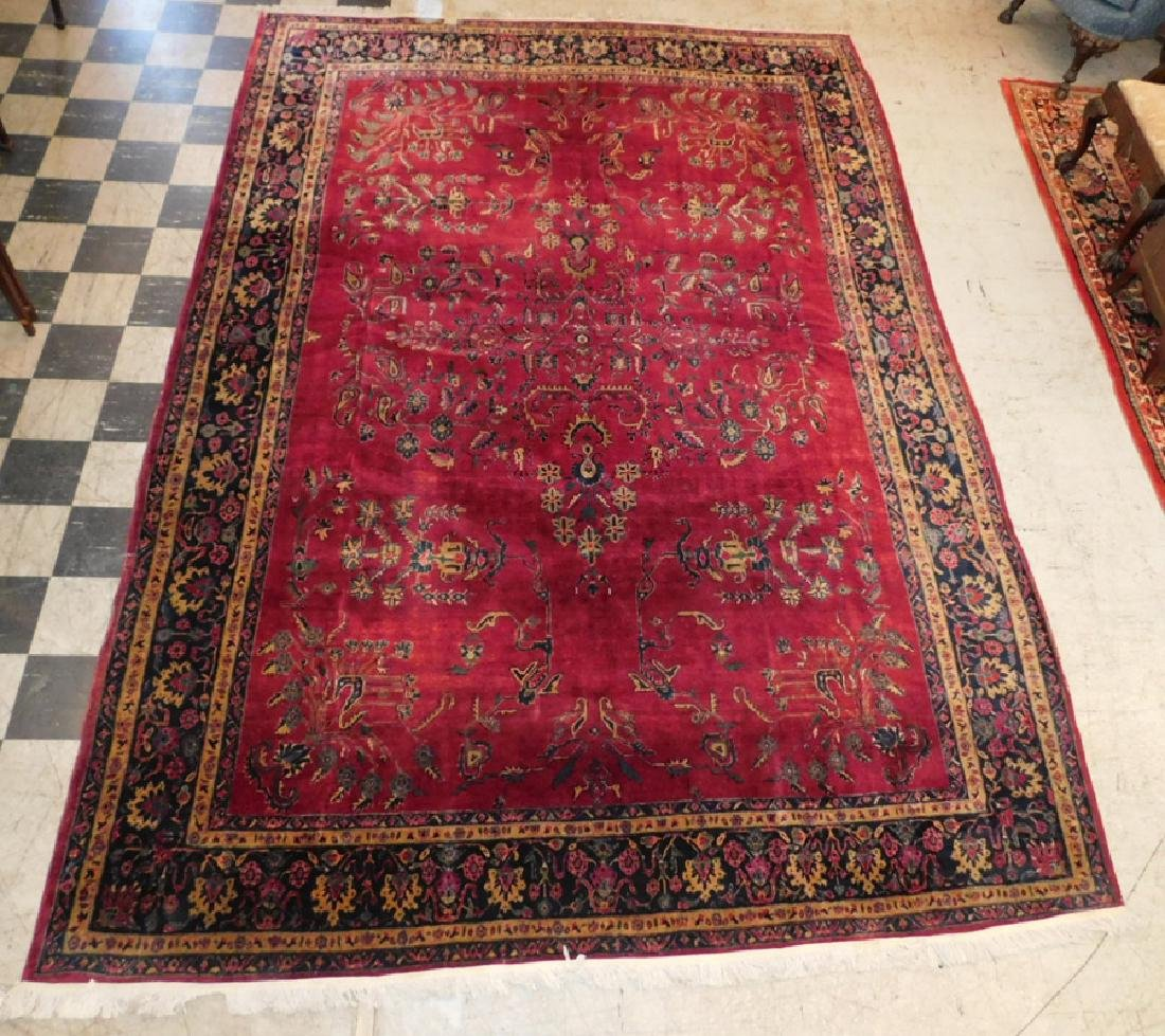 "8'6"" x 12'5"" handmade antique Sarouk rug."
